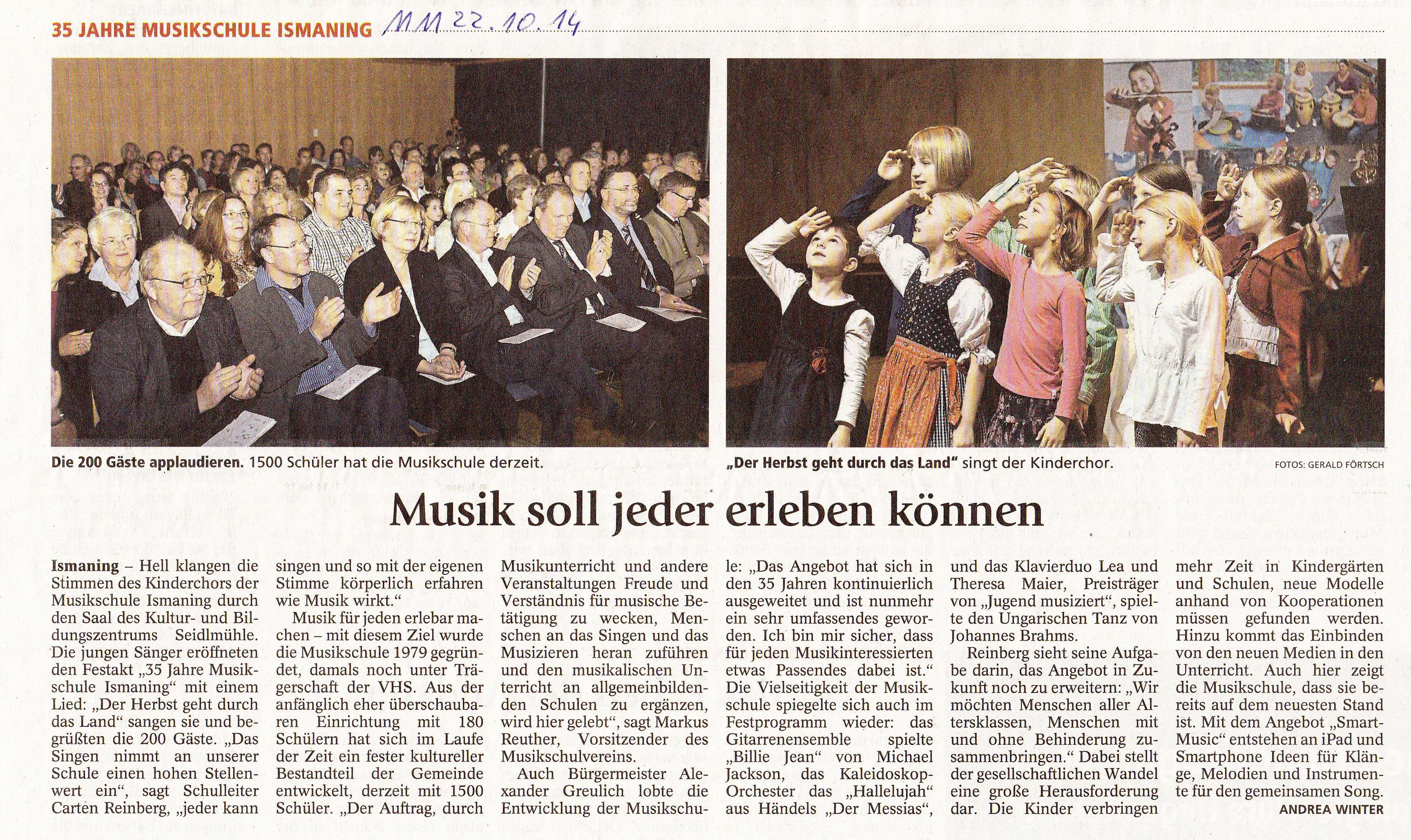 Jubiläumsveranstaltung 22.10.2014 - Münchner Merkur