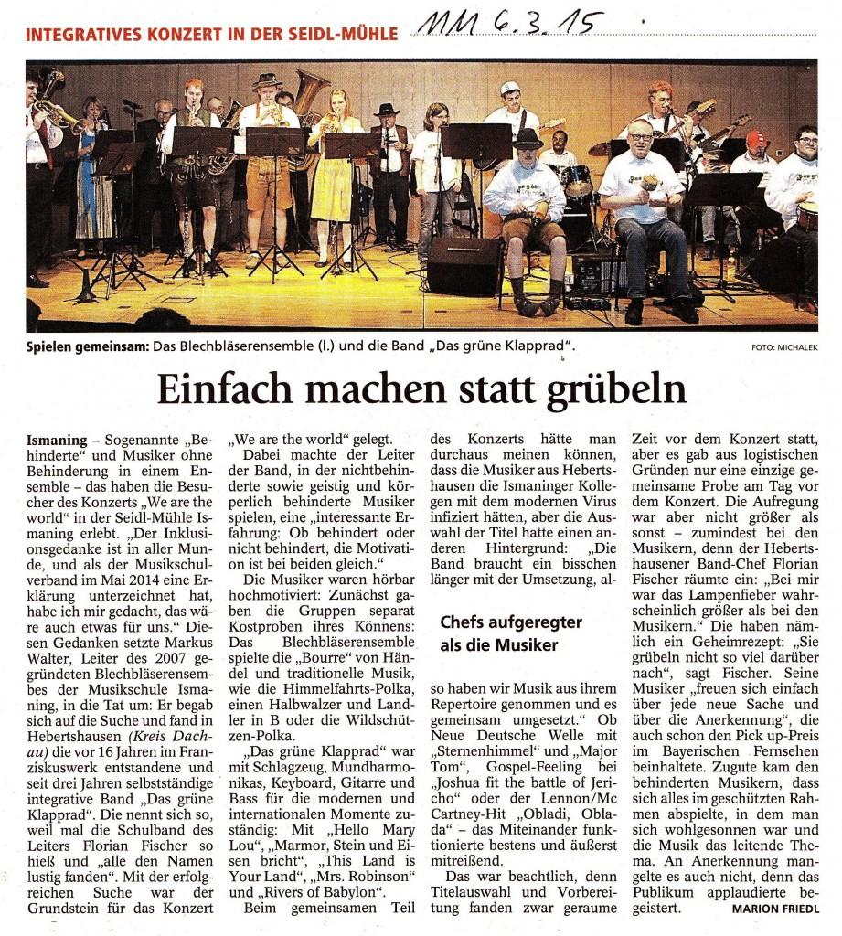 """""""We are the world"""" Projekt-Konzert von Menschen mit u. ohne Handicap"""